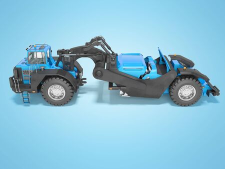 Concept wheeled tractor scraper side view 3d render on blue background with shadow