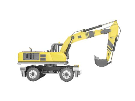 Concept full wheel excavator 3d render on white background no shadow Imagens