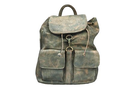 3D rendering leather school backpack on white background no shadow