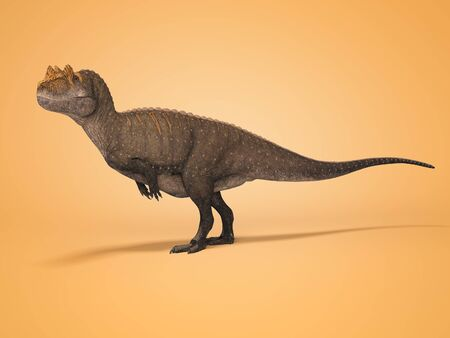 3D rendering dinosaur on orange background with shadow 版權商用圖片