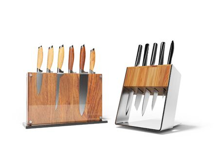 Two sets of five and six kitchen knives 3d render on white background with shadow