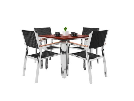 Tables and high chairs isolated 3D render on white background no shadow