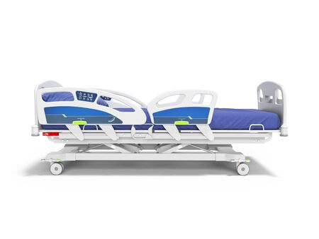 Blue hospital bed with lifting mechanism with control panel isolated 3D render on white background with shadow
