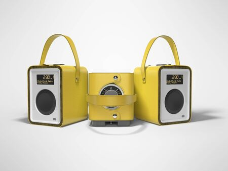 Yellow three portable speaker for listening to music in leather binding 3d render on gray background with shadow