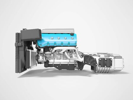 Blue engine for car assembly with gearbox rear view 3D render on gray background with shadow