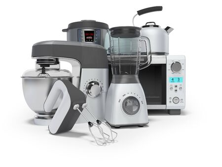 3D rendering home appliances group mixer blender food processor multicooker on white background with shadow
