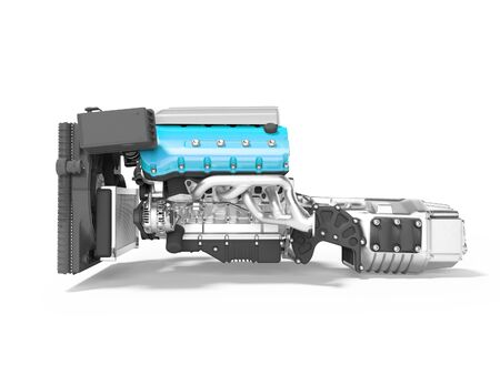 Blue engine for car assembly with gearbox rear view 3D render on white background with shadow