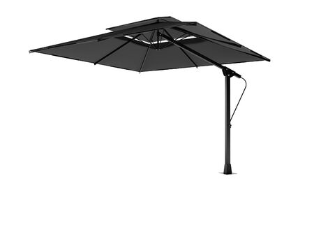 Professional beach umbrella for cafe right side view 3D render on white background no shadow
