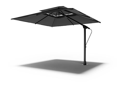 Professional beach umbrella for cafe right side view 3D render on white background with shadow