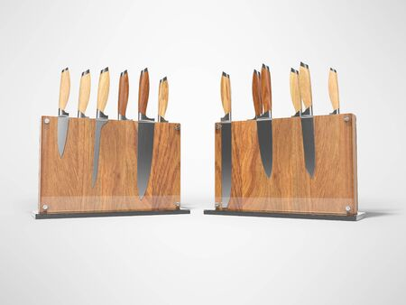 Two sets of kitchen knives on wooden stand with glass 3D render on gray background with shadow