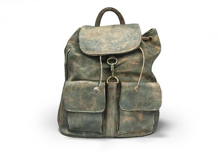 3D rendering leather school backpack on white background with shadow