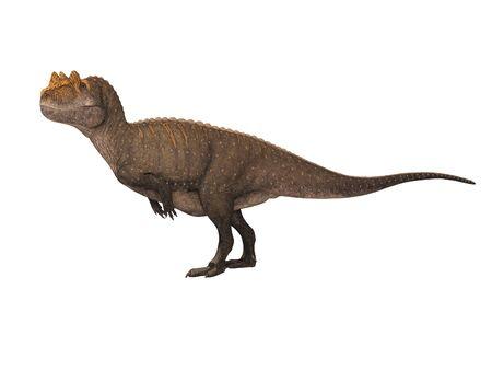 3D rendering dinosaur on white background no shadow Banco de Imagens