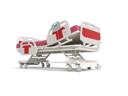 Modern red hospital bed with lifting mechanism on the control panel 3d render on white background with shadow Фото со стока