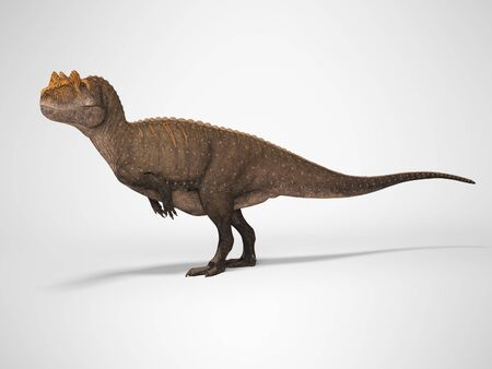 3D rendering dinosaur on gray background with shadow
