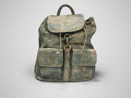 3D rendering leather school backpack on gray background with shadow