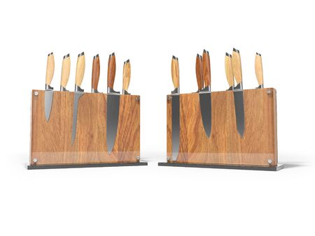 Two sets of kitchen knives on wooden stand with glass 3D render on white background with shadow
