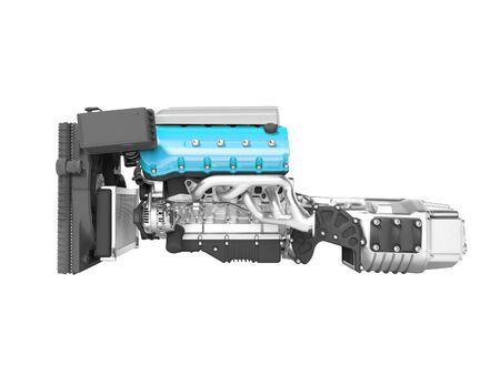 Blue engine for car assembly with gearbox rear view 3D render on white background no shadow