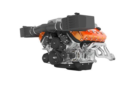 Engine for an air cooled car with generator on the cables 3D render on white background no shadow