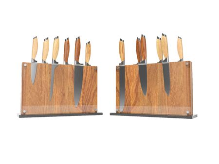 Two sets of kitchen knives on wooden stand with glass 3D render on white background no shadow
