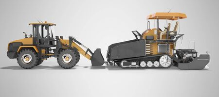 Concept road construction machinery paver construction wheeled tractor 3d rendering on gray background with shadow