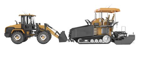 Concept road construction machinery paver construction wheeled tractor 3d rendering on white background no shadow