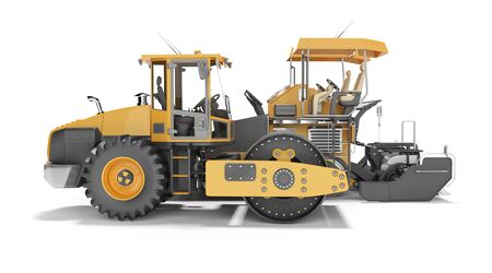 Concept road construction equipment for road works asphalt paver construction roller 3d rendering on white background with shadow
