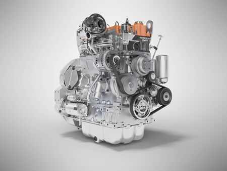 Concept car motor 3d rendering on gray background with shadow