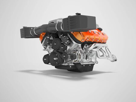 Engine for an air cooled car with generator on the cables 3D render on gray background with shadow