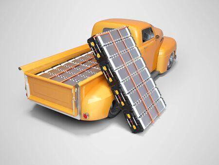 Concept elektrische auto kopen elektrische batterijen 3D-rendering op grijze achtergrond met schaduw