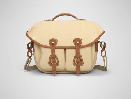 Bag for the camera 3d rendering on gray background with shadow