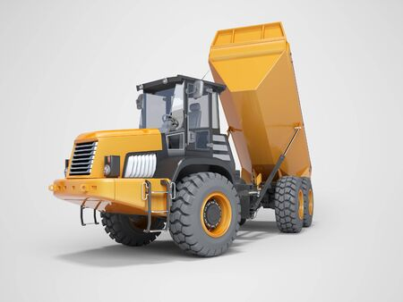 Dump truck with trailer unloading 3d rendering on gray background with shadow