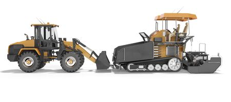Concept road construction machinery paver construction wheeled tractor 3d rendering on white background with shadow