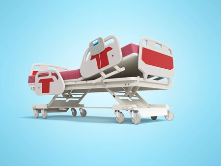Modern red hospital bed with lifting mechanism on the control panel 3d render on blue background with shadow