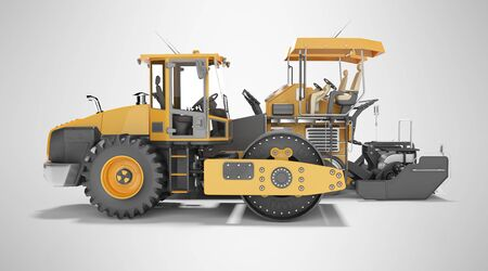 Concept road construction equipment for road works asphalt paver construction roller 3d rendering on gray background with shadow Zdjęcie Seryjne