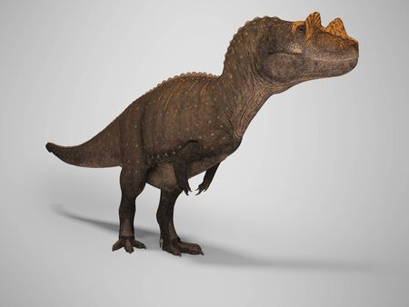 Concept dinosaur tyrannosaurus 3d rendering on gray background with shadow Zdjęcie Seryjne