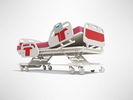 Modern red hospital bed with lifting mechanism on the control panel 3d render on gray background with shadow Фото со стока