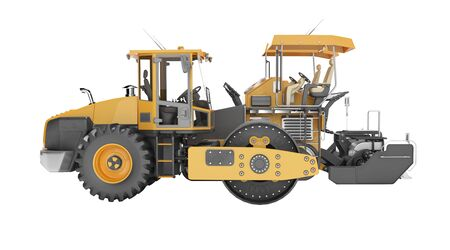 Concept road construction equipment for road works asphalt paver construction roller 3d rendering on white background no shadow Zdjęcie Seryjne
