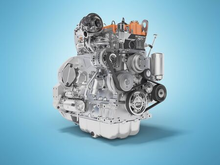 Concept car motor 3d rendering on blue background with shadow