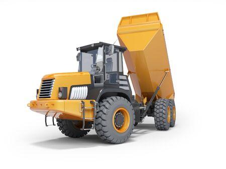 Muldenkipper mit Anhänger entladen 3D-Rendering auf weißem Hintergrund mit Schatten
