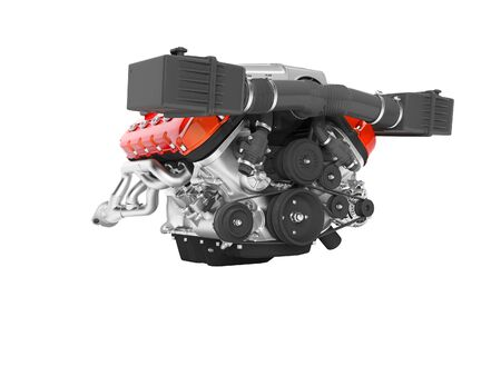 Engine for car assembly 3D render on white background no shadow