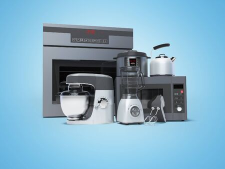 Kitchen appliances built into the group electric oven microwave blender electric kettle 3d rendering on blue background with shadow