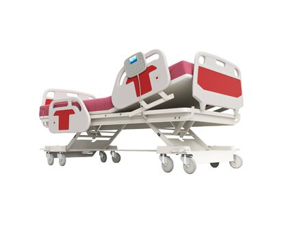 Modern red hospital bed with lifting mechanism on the control panel 3d render on white background no shadow