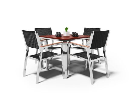 Tables and high chairs isolated 3D render on white background with shadow Фото со стока