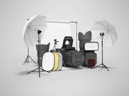 Concept studio equipment softboxes photo umbrella reflectors 3d rendering on gray background with shadow 版權商用圖片