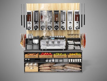 Concept coffee shop equipment with professional coffee machine 3d rendering on gray background with shadow Фото со стока