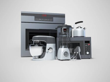 Kitchen appliances built into the group electric oven microwave blender electric kettle 3d rendering on gray background with shadow Standard-Bild - 133673512
