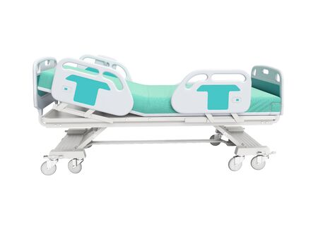 Turquoise hospital bed with lifting mechanism on an autonomous control panel right side view 3D render on white background no shadow Banque d'images - 133673521