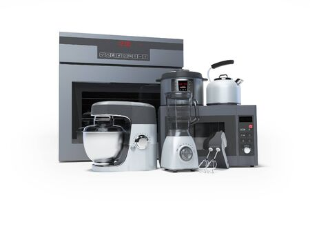 Kitchen appliances built into the group electric oven microwave blender electric kettle 3d rendering on white background with shadow Standard-Bild - 133673528
