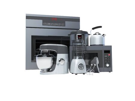 Kitchen appliances built into the group electric oven microwave blender electric kettle 3d rendering on white background no shadow Standard-Bild - 133673533