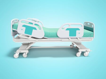 Turquoise hospital bed with lifting mechanism on an autonomous control panel right side view 3D render on blue background with shadow Banque d'images - 133673558